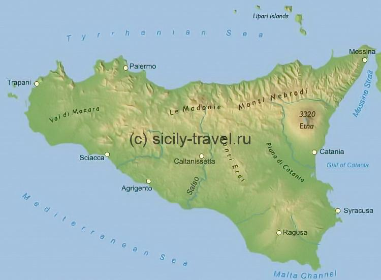 Вулкан Этна на карте